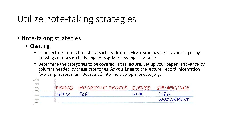 Utilize note-taking strategies • Note-taking strategies • Charting • If the lecture format is