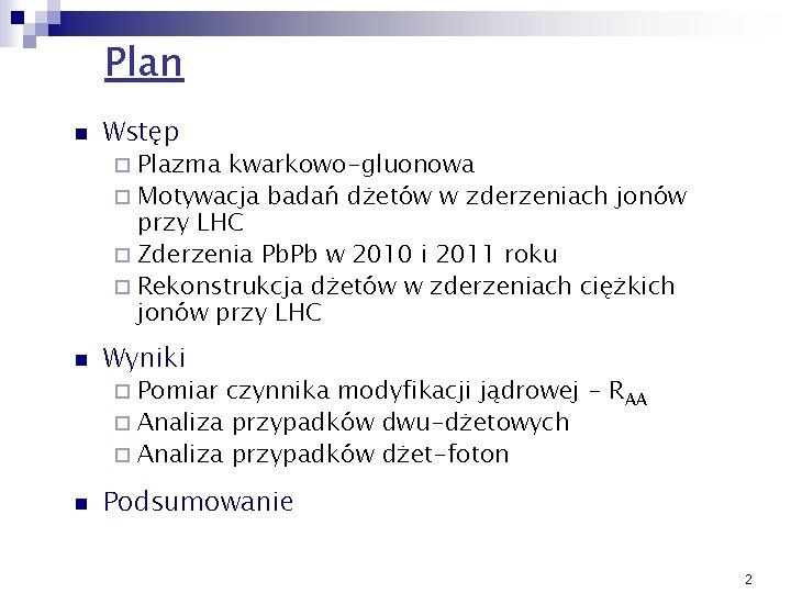 Plan n Wstęp Plazma kwarkowo-gluonowa ¨ Motywacja badań dżetów w zderzeniach jonów przy LHC