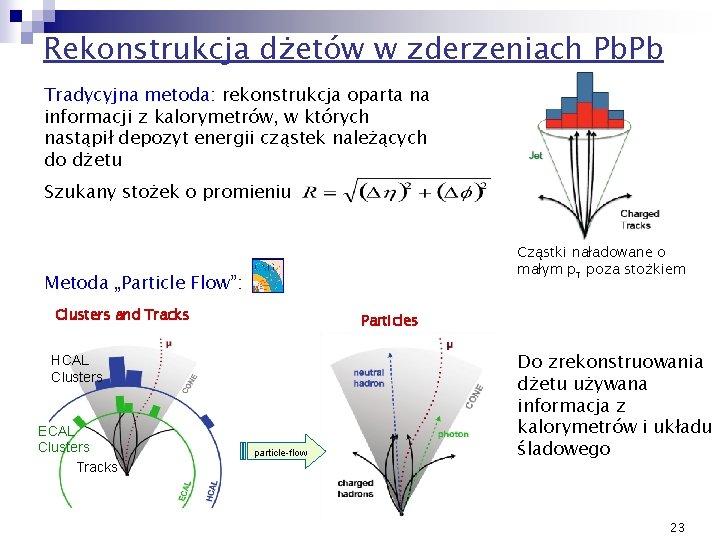 Rekonstrukcja dżetów w zderzeniach Pb. Pb Tradycyjna metoda: rekonstrukcja oparta na informacji z kalorymetrów,