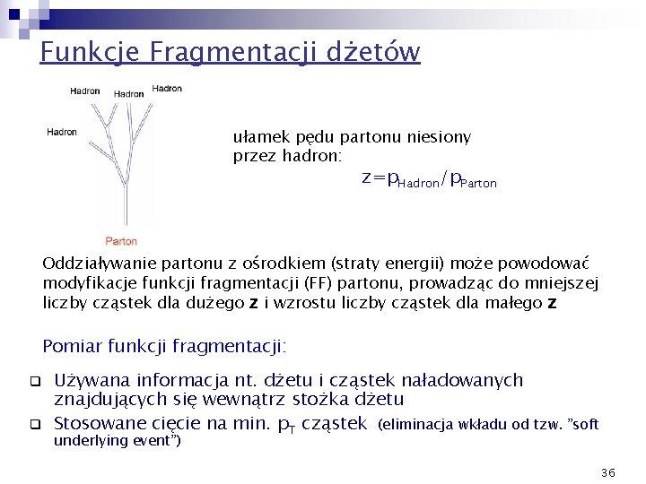 Funkcje Fragmentacji dżetów ułamek pędu partonu niesiony przez hadron: z=p. Hadron/p. Parton Oddziaływanie partonu