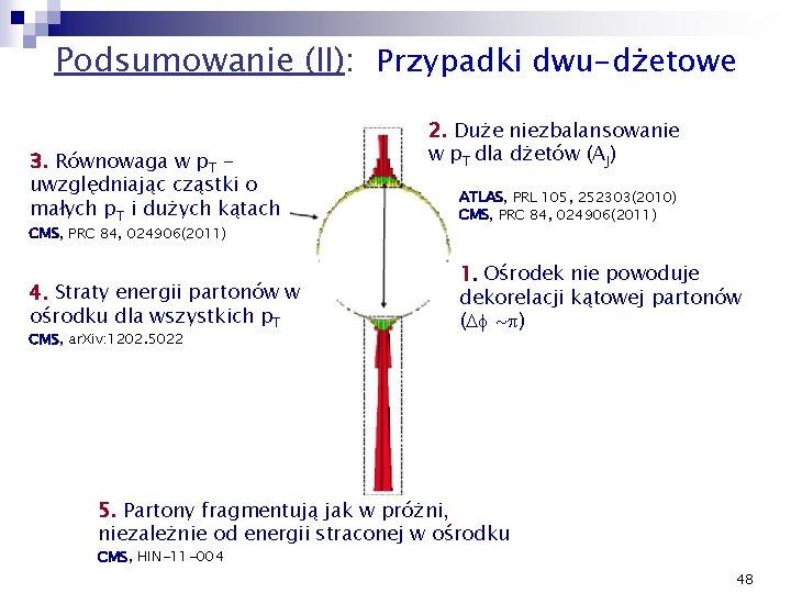 Podsumowanie (II): Przypadki dwu-dżetowe 3. Równowaga w p. T uwzględniając cząstki o małych p.