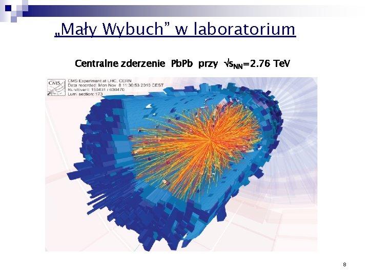 """""""Mały Wybuch"""" w laboratorium Centralne zderzenie Pb. Pb przy s. NN=2. 76 Te. V"""