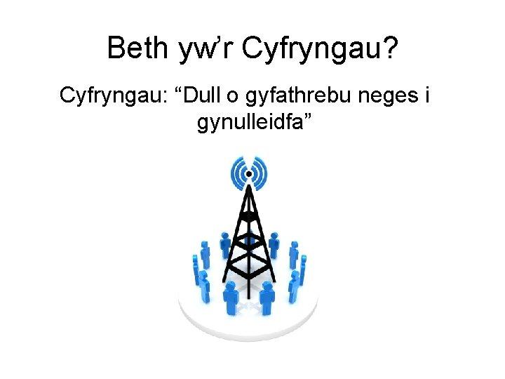 """Beth yw'r Cyfryngau? Cyfryngau: """"Dull o gyfathrebu neges i gynulleidfa"""""""