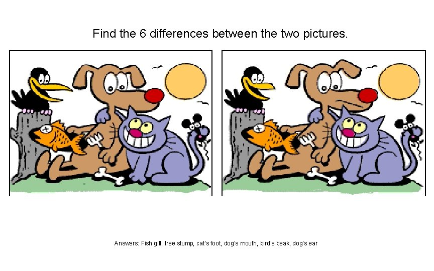 Find the 6 differences between the two pictures. Answers: Fish gill, tree stump, cat's