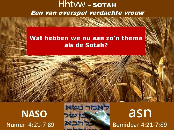 Hhtvw – SOTAH Een van overspel verdachte vrouw Wat hebben we nu aan zo'n