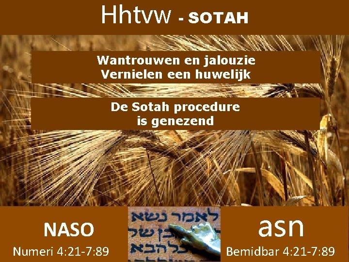 Hhtvw - SOTAH Wantrouwen en jalouzie Vernielen een huwelijk De Sotah procedure is genezend