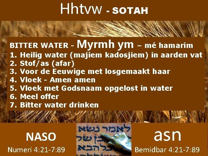 Hhtvw - SOTAH BITTER WATER - Myrmh ym – mé hamarim 1. Heilig water