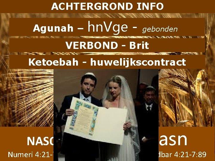 ACHTERGROND INFO Agunah – hn. Vge - gebonden VERBOND - Brit Ketoebah - huwelijkscontract