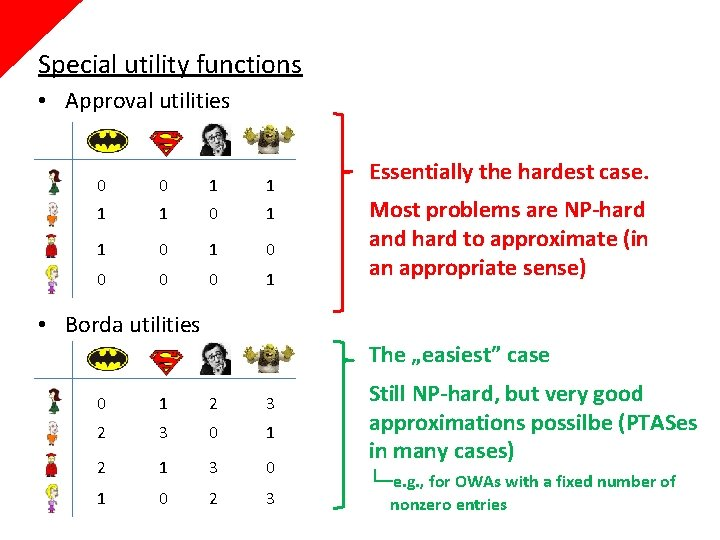 Special utility functions • Approval utilities 0 1 1 1 0 1 0 0