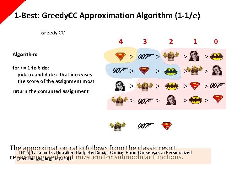 1 -Best: Greedy. CC Approximation Algorithm (1 -1/e) Greedy CC 4 3 2 1