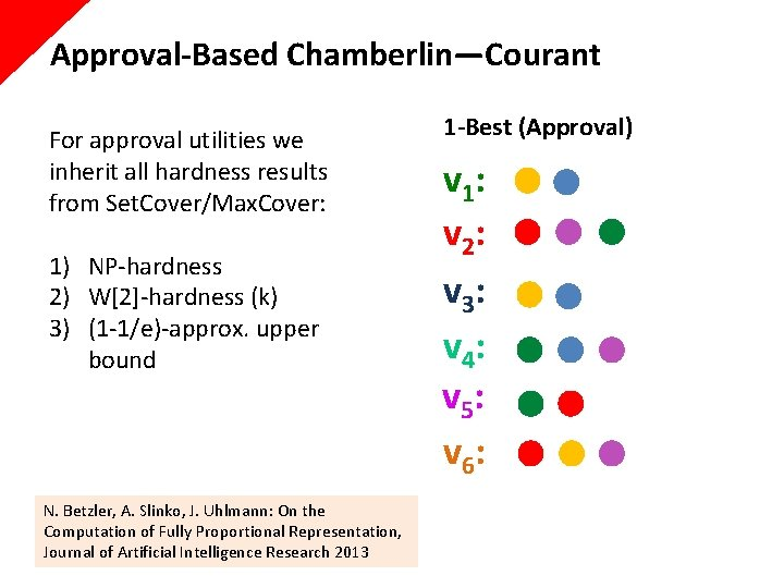 Approval-Based Chamberlin—Courant For approval utilities we inherit all hardness results from Set. Cover/Max. Cover:
