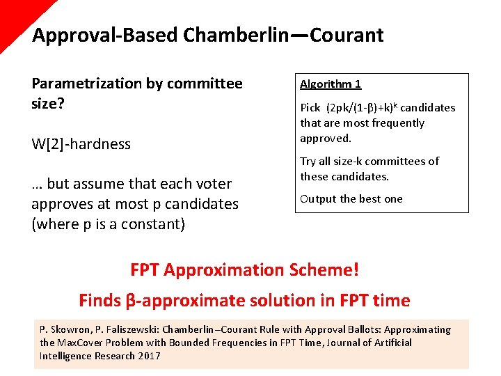 Approval-Based Chamberlin—Courant Parametrization by committee size? W[2]-hardness … but assume that each voter approves