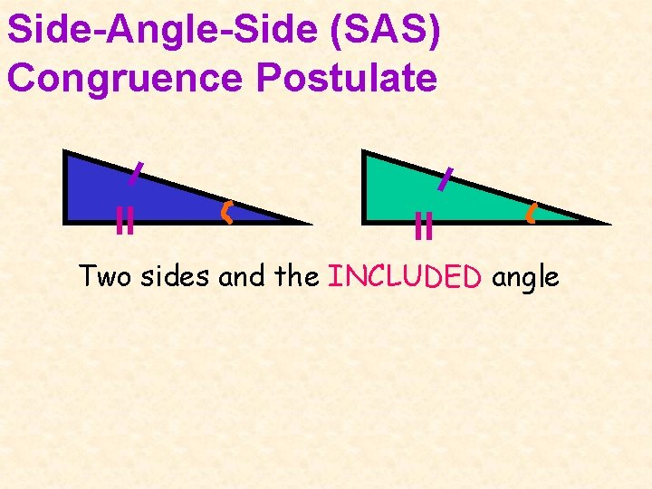 Side-Angle-Side (SAS) Congruence Postulate Two sides and the INCLUDED angle