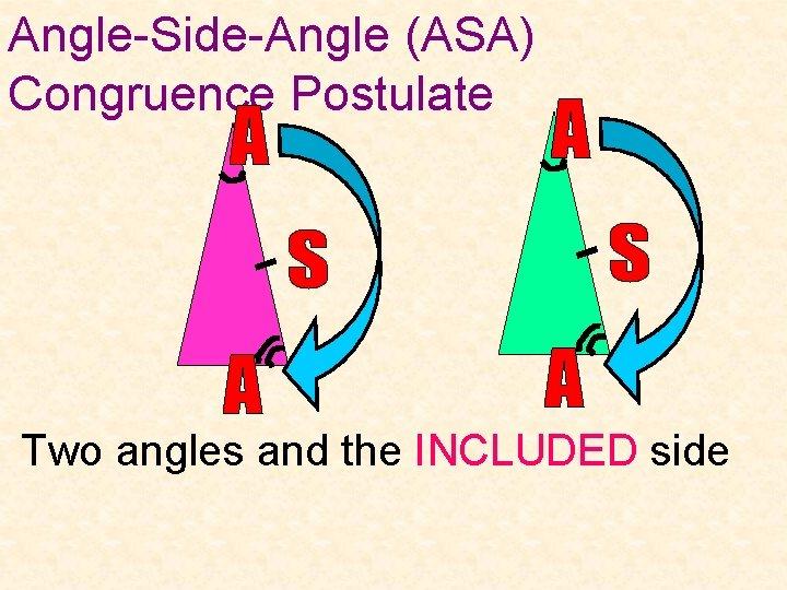 Angle-Side-Angle (ASA) Congruence Postulate Two angles and the INCLUDED side