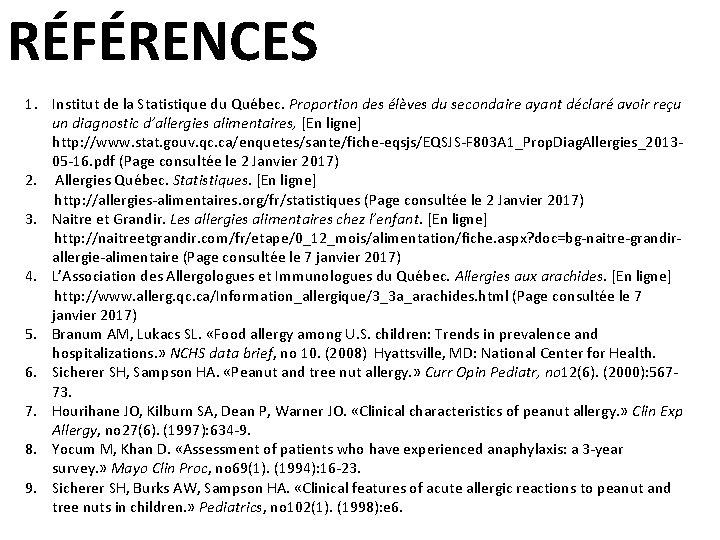 RÉFÉRENCES 1. Institut de la Statistique du Québec. Proportion des élèves du secondaire ayant