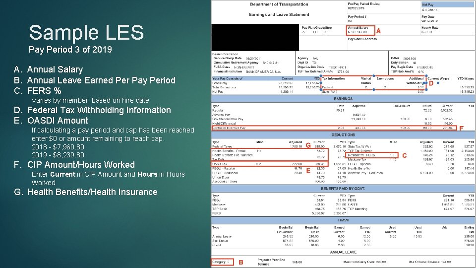 Sample LES Pay Period 3 of 2019 A. Annual Salary B. Annual Leave Earned