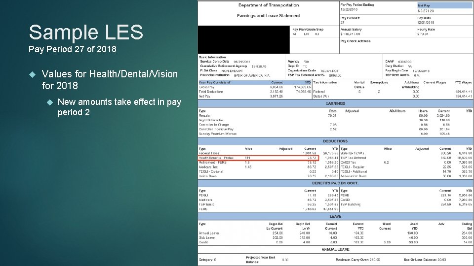 Sample LES Pay Period 27 of 2018 Values for Health/Dental/Vision for 2018 New amounts