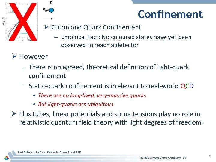 X Confinement Ø Gluon and Quark Confinement – Empirical Fact: No coloured states have