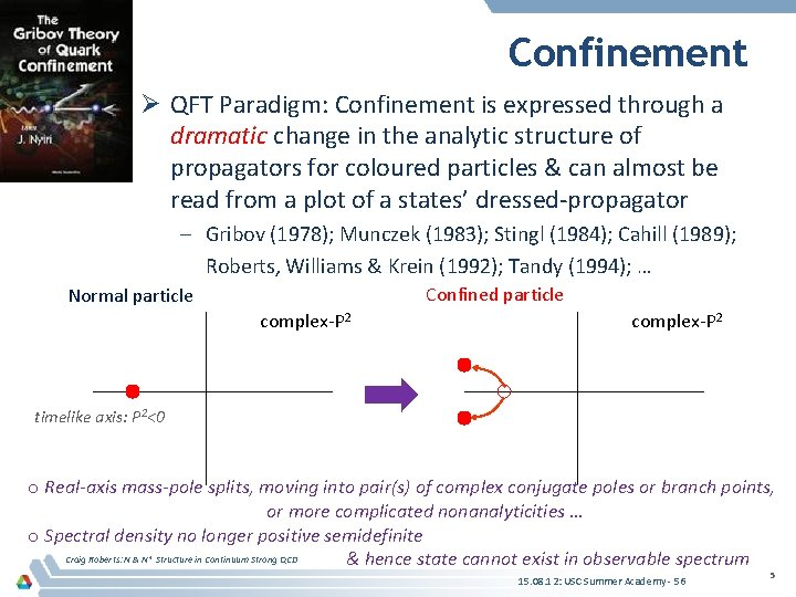 Confinement Ø QFT Paradigm: Confinement is expressed through a dramatic change in the analytic