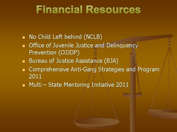 Financial Resources n n n No Child Left behind (NCLB) Office of Juvenile Justice