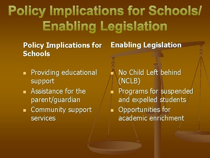Policy Implications for Schools/ Enabling Legislation Policy Implications for Schools n n n Providing