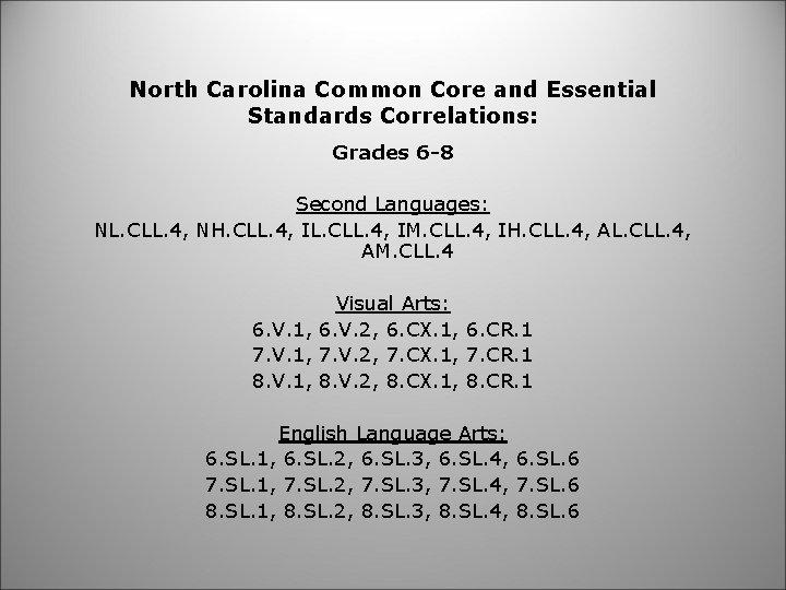North Carolina Common Core and Essential Standards Correlations: Grades 6 -8 Second Languages: NL.