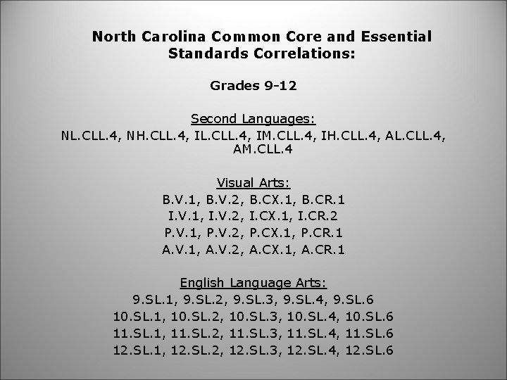 North Carolina Common Core and Essential Standards Correlations: Grades 9 -12 Second Languages: NL.