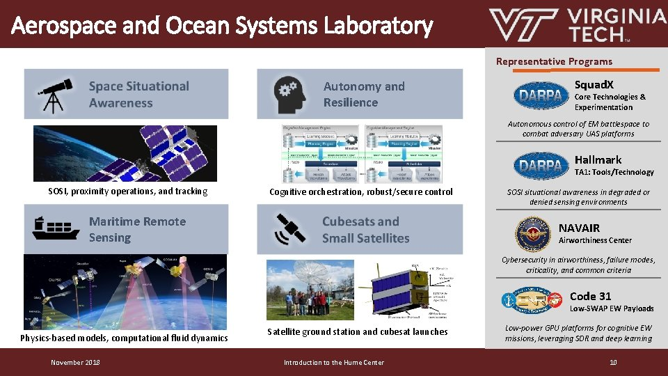 Aerospace and Ocean Systems Laboratory Representative Programs Autonomy and Resilience Squad. X Core Technologies