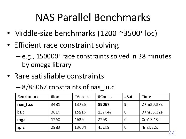 NAS Parallel Benchmarks • Middle-size benchmarks (1200+~3500+ loc) • Efficient race constraint solving –