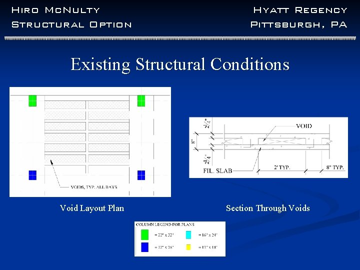 Hiro Mc. Nulty Structural Option Hyatt Regency Pittsburgh, PA Existing Structural Conditions Void Layout