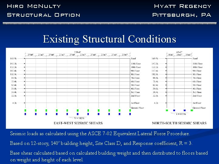 Hiro Mc. Nulty Structural Option Hyatt Regency Pittsburgh, PA Existing Structural Conditions Seismic loads