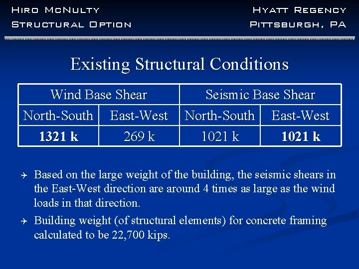 Hiro Mc. Nulty Structural Option Hyatt Regency Pittsburgh, PA Existing Structural Conditions Wind Base