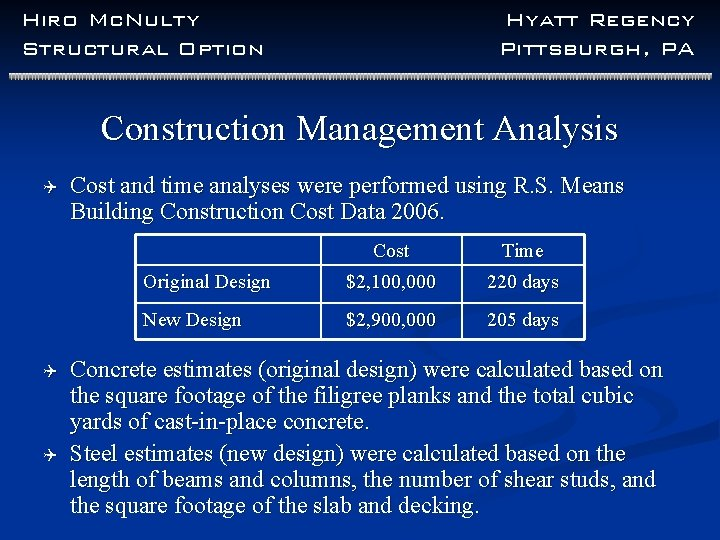 Hiro Mc. Nulty Structural Option Hyatt Regency Pittsburgh, PA Construction Management Analysis Q Q
