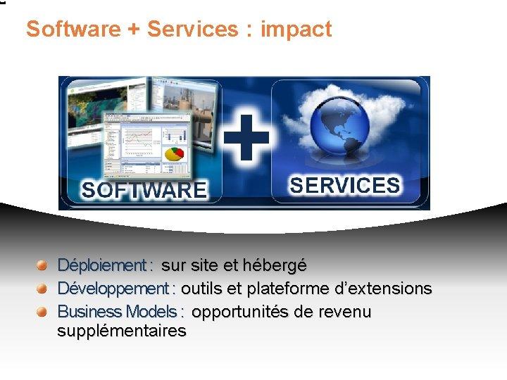 Software + Services : impact Déploiement : sur site et hébergé Développement : outils