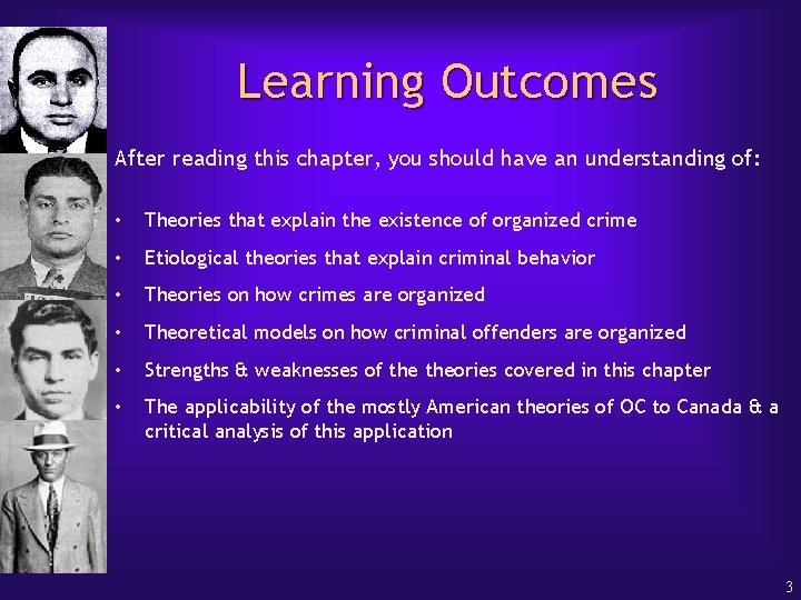 Learning Outcomes After reading this chapter, you should have an understanding of: • Theories