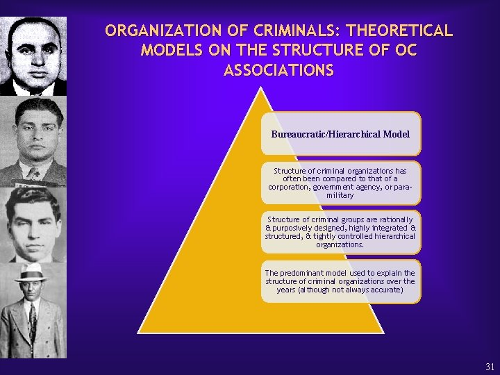ORGANIZATION OF CRIMINALS: THEORETICAL MODELS ON THE STRUCTURE OF OC ASSOCIATIONS Bureaucratic/Hierarchical Model Structure