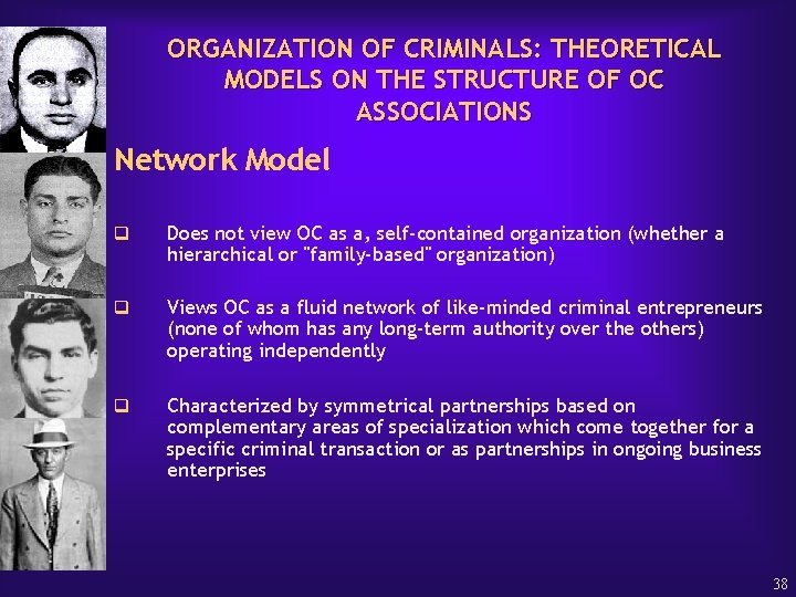 ORGANIZATION OF CRIMINALS: THEORETICAL MODELS ON THE STRUCTURE OF OC ASSOCIATIONS Network Model q