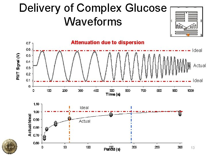 Delivery of Complex Glucose Waveforms Attenuation due to dispersion Ideal Actual/Ideal Actual 13
