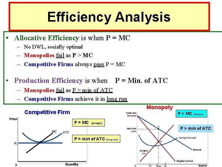 Efficiency Analysis • Allocative Efficiency is when P = MC – No DWL, socially