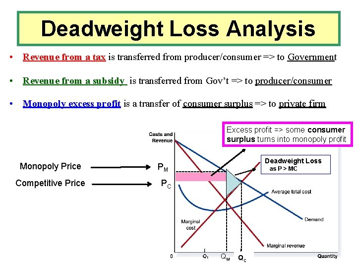 Deadweight Loss Analysis • Revenue from a tax is transferred from producer/consumer => to