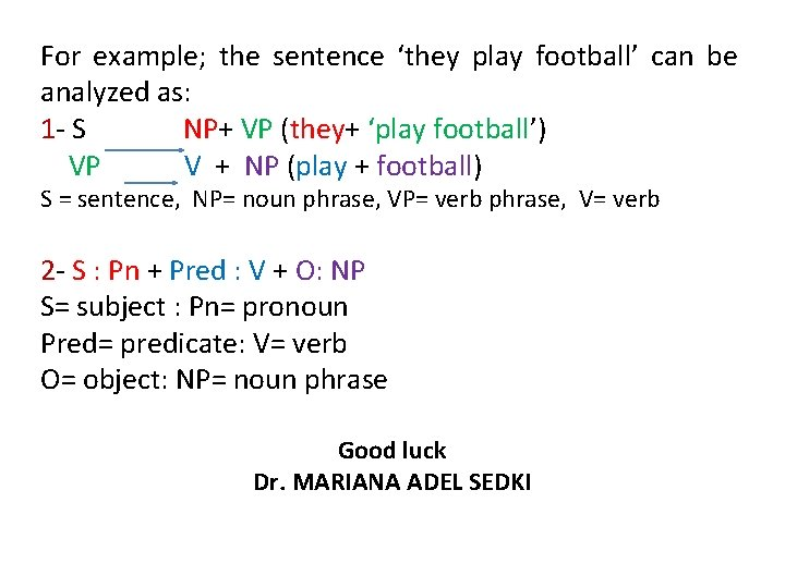 For example; the sentence 'they play football' can be analyzed as: 1 - S