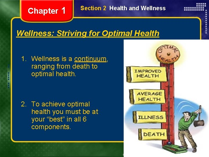 Chapter 1 Section 2 Health and Wellness: Striving for Optimal Health 1. Wellness is
