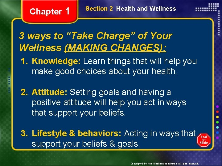 """Chapter 1 Section 2 Health and Wellness 3 ways to """"Take Charge"""" of Your"""