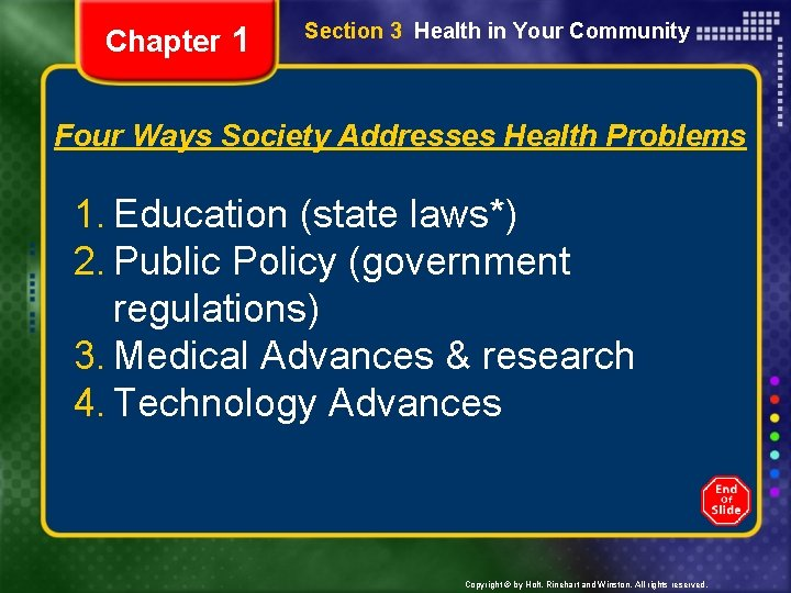 Chapter 1 Section 3 Health in Your Community Four Ways Society Addresses Health Problems