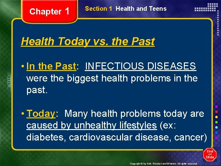 Chapter 1 Section 1 Health and Teens Health Today vs. the Past • In