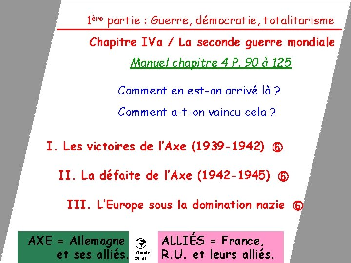 1ère partie : Guerre, démocratie, totalitarisme Chapitre IVa / La seconde guerre mondiale Manuel