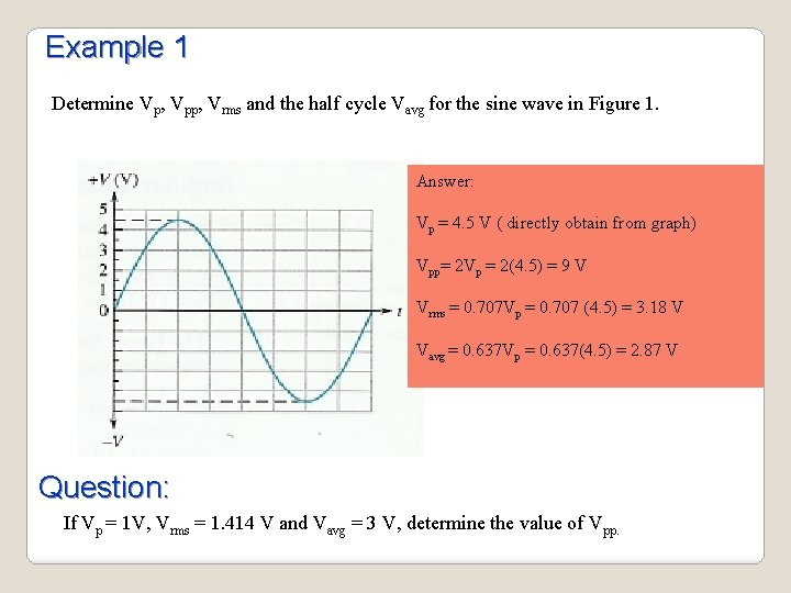Example 1 Determine Vp, Vpp, Vrms and the half cycle Vavg for the sine