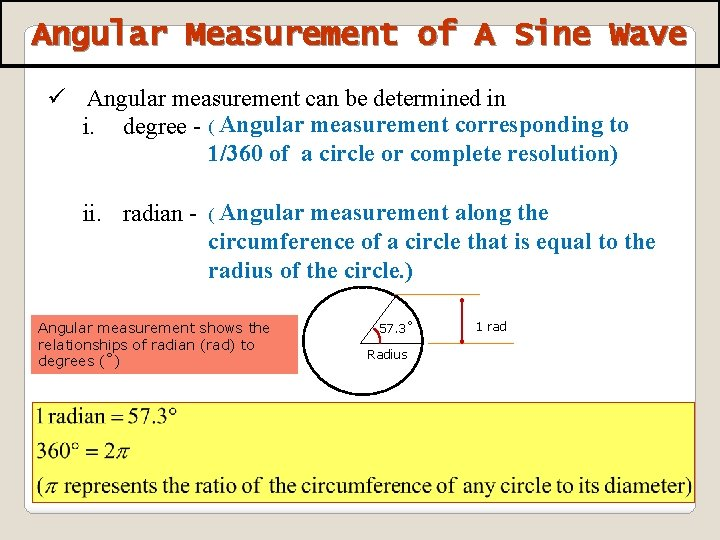 Angular Measurement of A Sine Wave ü Angular measurement can be determined in i.