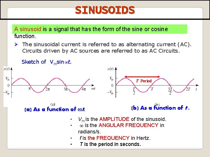 SINUSOIDS A sinusoid is a signal that has the form of the sine or