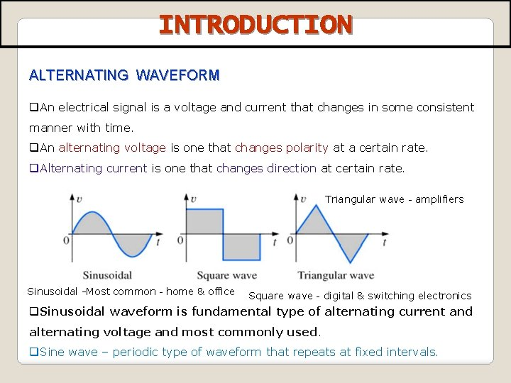 INTRODUCTION ALTERNATING WAVEFORM q. An electrical signal is a voltage and current that changes